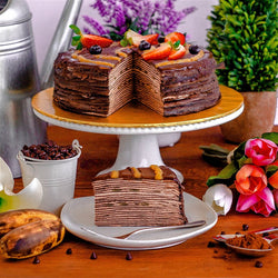 Chocolate Banana Mille Crepe Cake