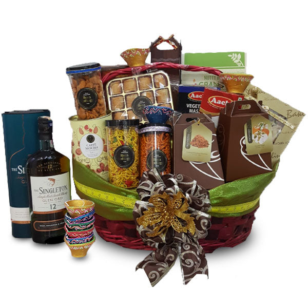 [1 Day Pre-Order] NICI DIWALI HAMPER - DEEPAVALI INDIAN BASKET W SINGLETON