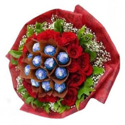 GODIVA ROCAMORE DOME - GODIVA CHOCOLATES WITH RED ROSES BOUQUET