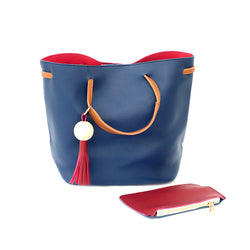 Lola Tote Bag - Blue/Red