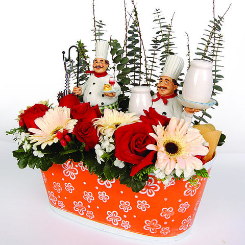 Alberto Swiss Chef - Salt & Pepper Shakers with Flowers Gift