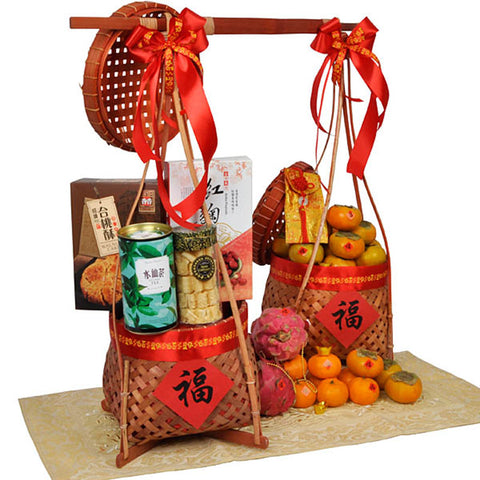 Fortune Aplenty - Traditional Fruits, Cookies and Tea Hamper