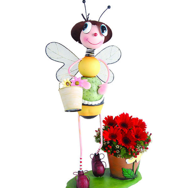 Garden Bea Bee - Metal Planter with Daisies