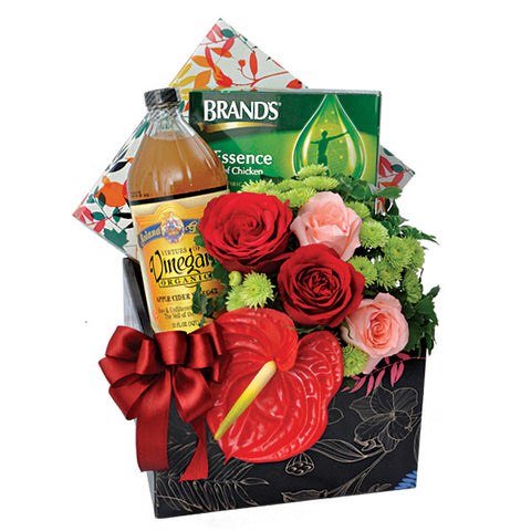 [1 Day Pre-Order] Recovery Wishes - Brands Chicken of Essence Get Well Hamper with Flowers