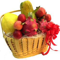 Tropical Pillage - Sun Melon, Dragon fruits, Plum, Pomegranate & Fruits Hamper Basket