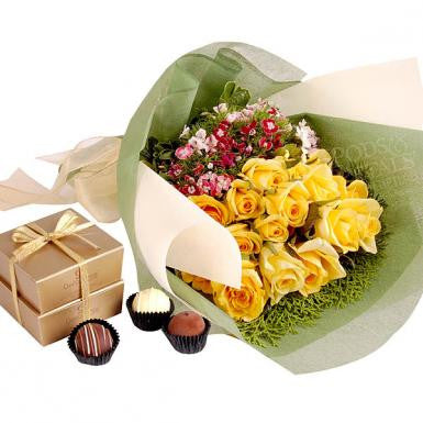 Yellow Engracia (Yellow Roses with Chocolate)