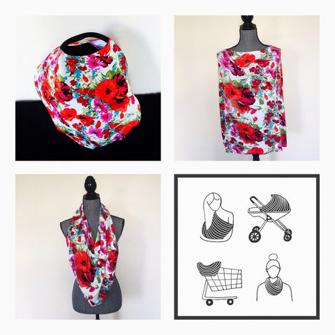 Red Floral Mini LUX Baby Cover
