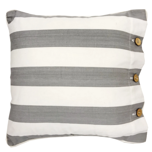 Amalfi Grey Striped Cotton Cushion Cover