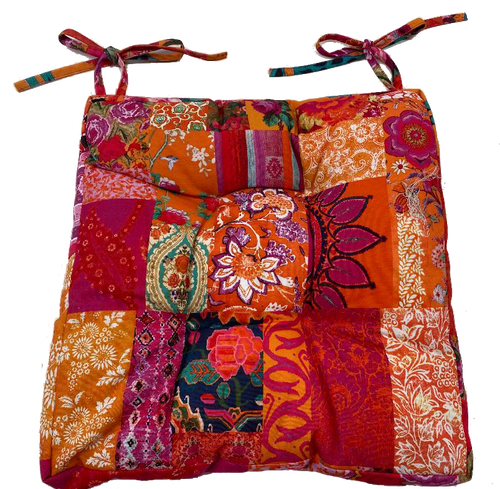 Anna Chandler Tangerine Canvas Chair Pad