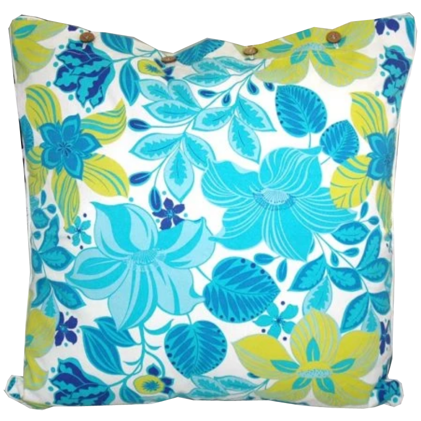 Hibiscus Turquoise Cotton Cushion Cover