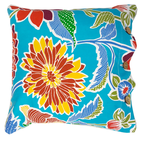 Delphia Blue Cotton Cushion Cover