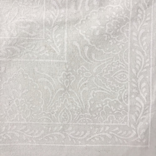 White on White Block Print Tablecloth
