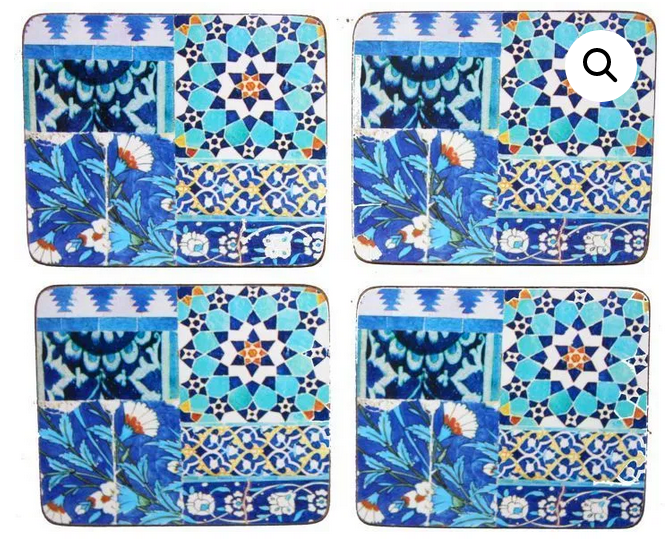 Anna Chandler Beverage Coaster in Blue Tile