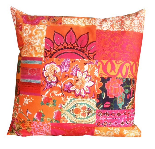 Anna Chandler Tangerine Patchwork Out-Door Cushion