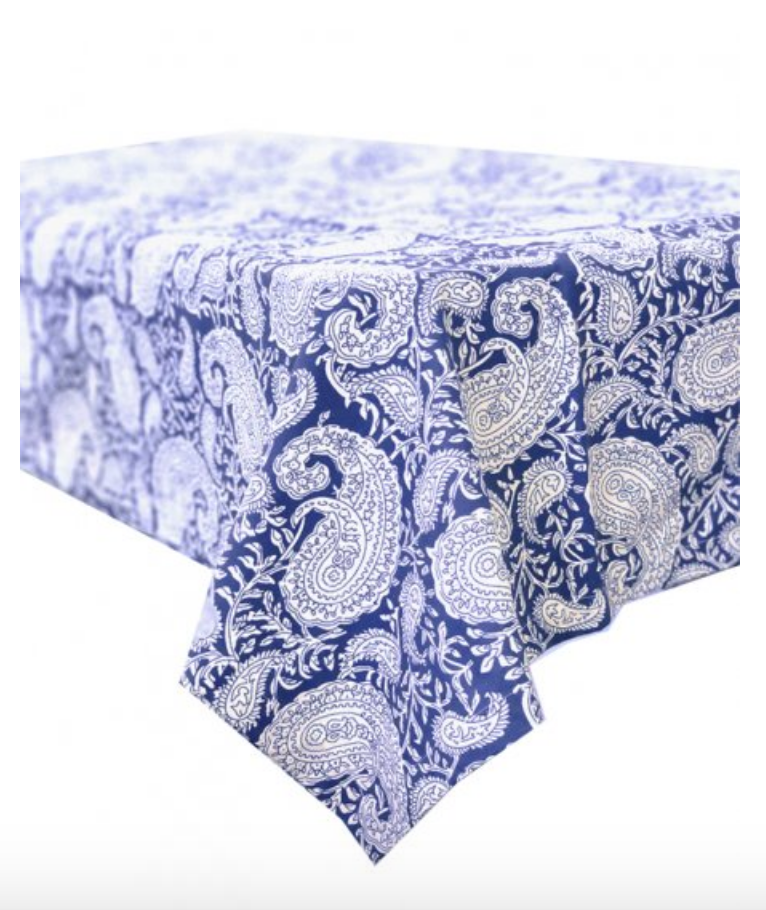 Paisley Blue Lagoon Stain Proof Tablecloth