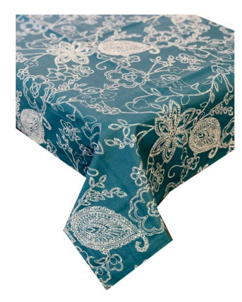 Paisley Teal Stain Proof Tablecloth