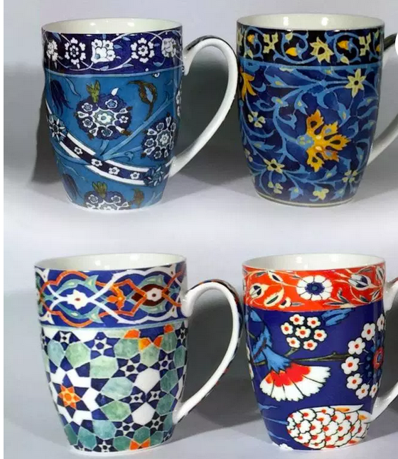 Anna Chandler set of 4 Mugs in Blue Tile