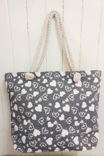 Grey Heart Canvas Tote Bag
