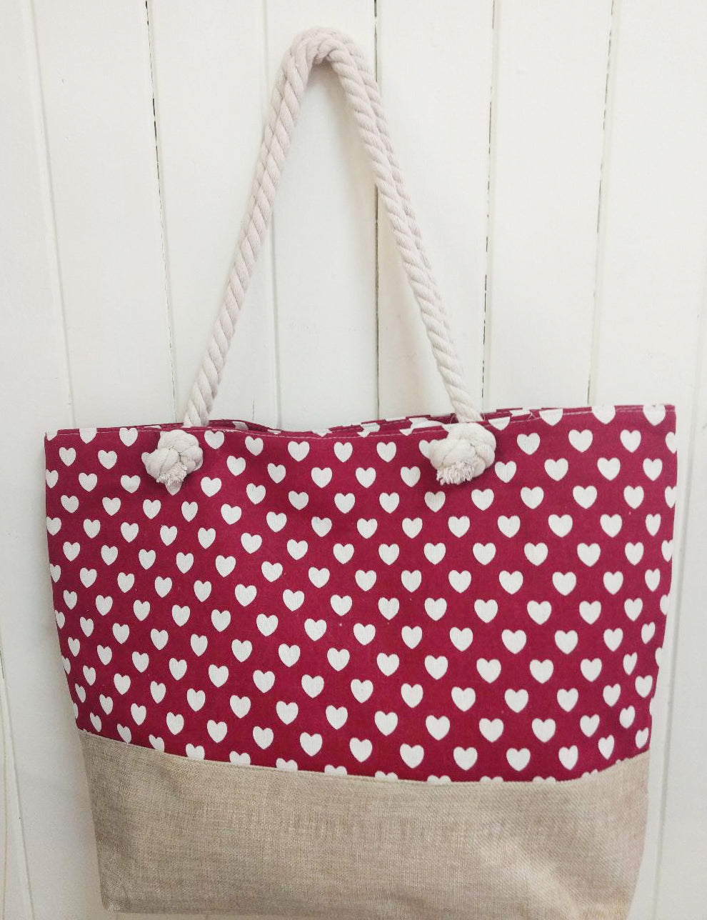 Red Heart Canvas Tote Bag