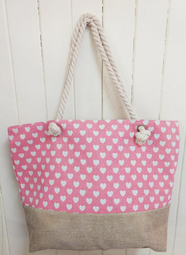 Pink Heart Canvas Tote Bag