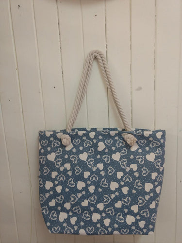 Blue Heart Canvas Tote Bag