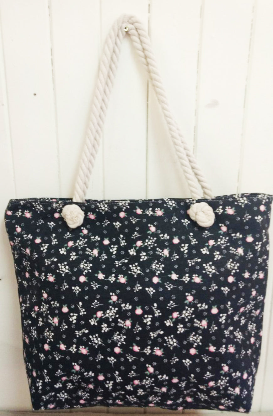 Black Floral Canvas Tote Bag
