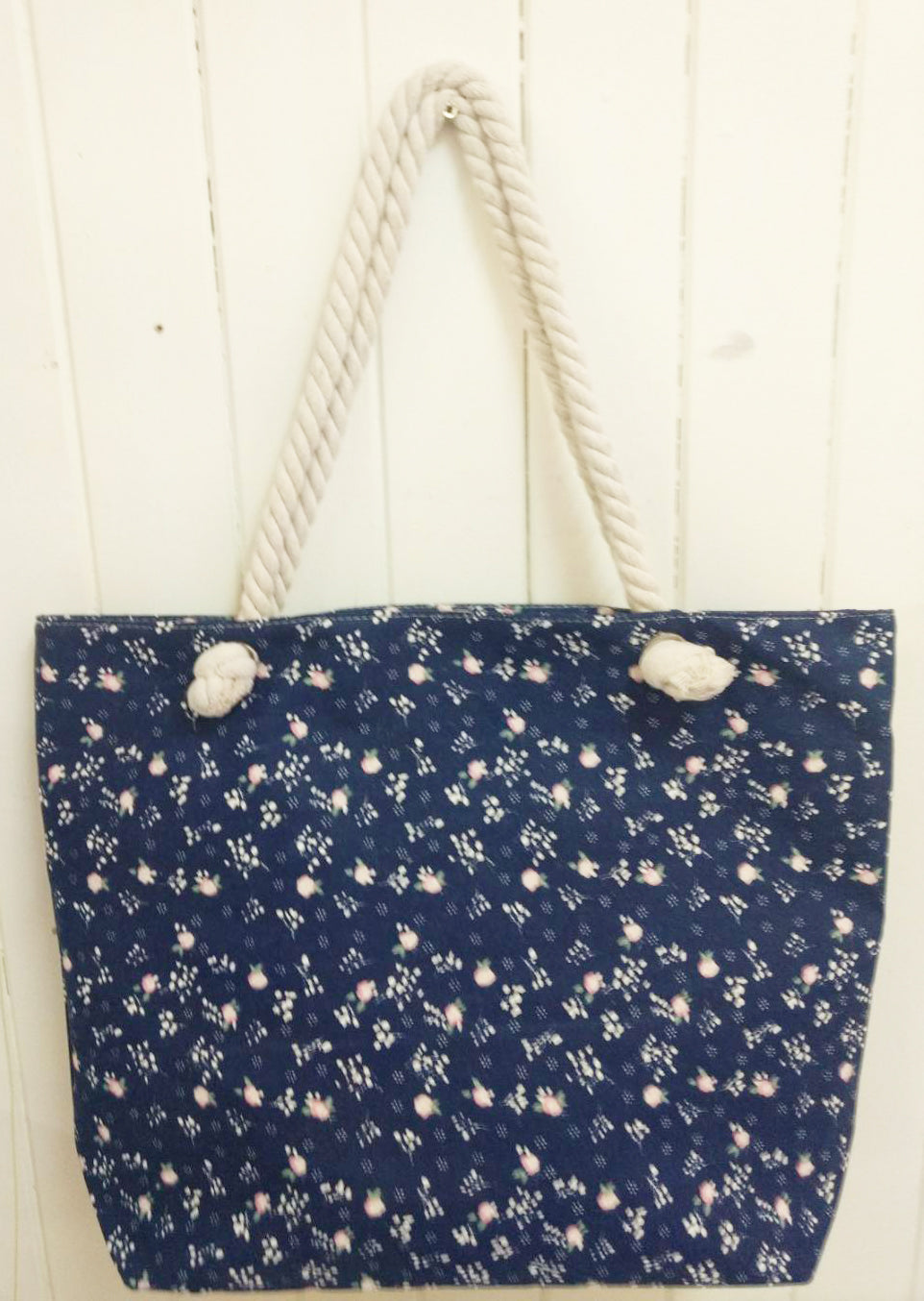 Blue Floral Canvas Tote Bag