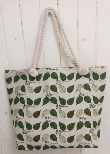 Leaf Print Canvas Tote Bag