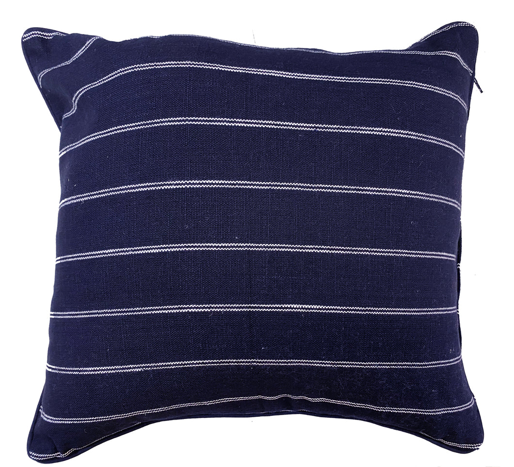 French Country Navy Cotton Cushion Cover