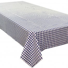 Gingham Check Blue Cotton Tablecloth