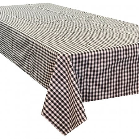 Gingham Check Black Cotton Tablecloth