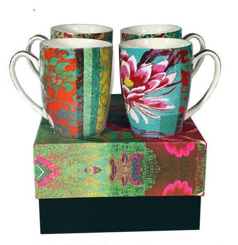 Anna Chandler set of 4 Mugs in Green Patchwork