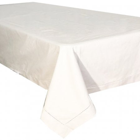 Hemstitch White Cotton Tablecloth