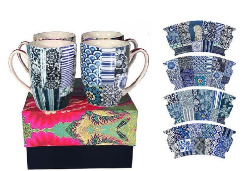 Anna Chandler set of 4 Mugs in Indigo