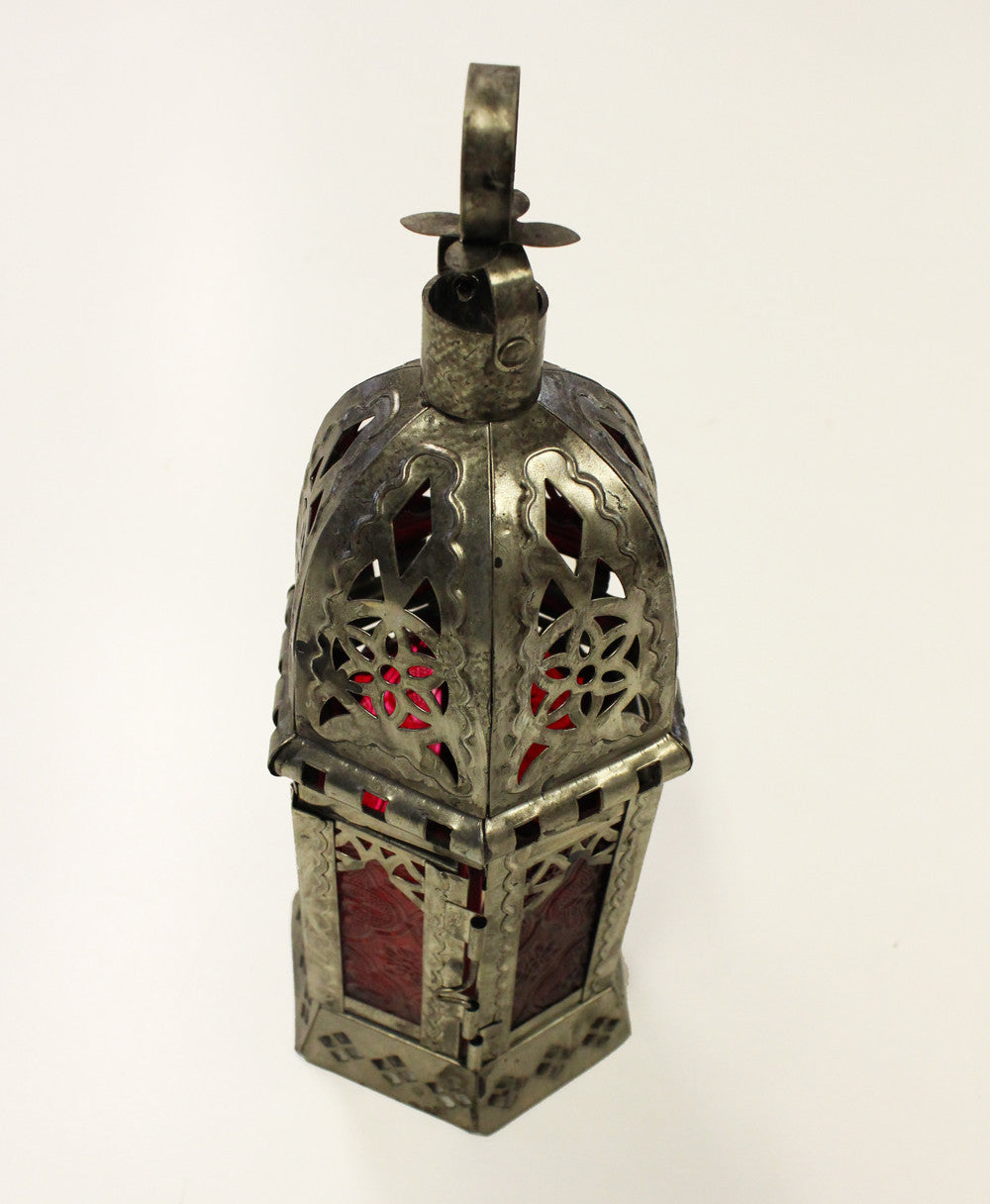 Red Glass Tin Lantern