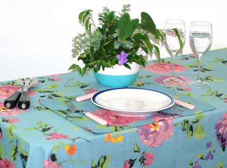 Monet Blue Stain Proof Tablecloth