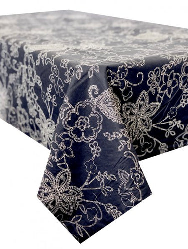 Paisley Navy Stain Proof Tablecloth
