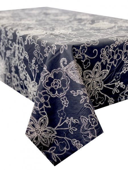 Paisley Navy Stain Proof Table Cloth