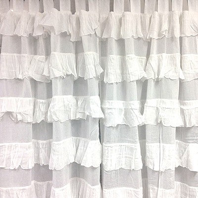 Ruffle Tab Top Curtain - White