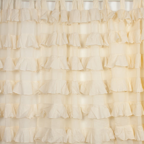 Ruffle Tab Top Curtain - Ivory