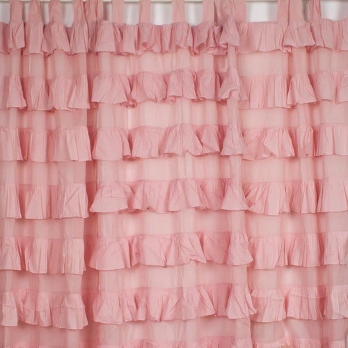 Ruffle Tab Top Curtain - Pink