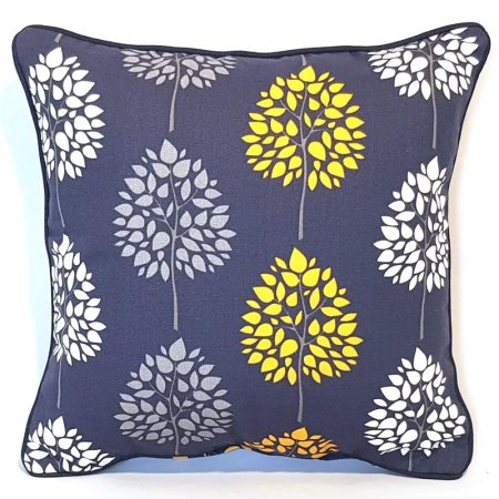Tree Print Navy Cotton Cushion Cover