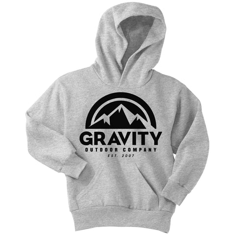 Gravity Outdoor Co. Youth Hoodie Sweatshirt - White Logo