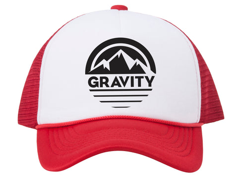 Mountain Stripe Logo Adjustable Mesh Trucker Hat w/ Rope Brim