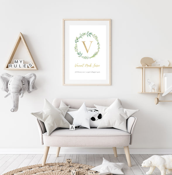 Custom Birth Print for Nursery - Leaf Wreath Design