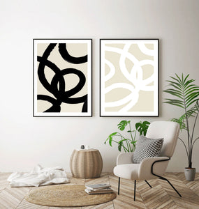 Linear Abstract Brush Art Set of 2