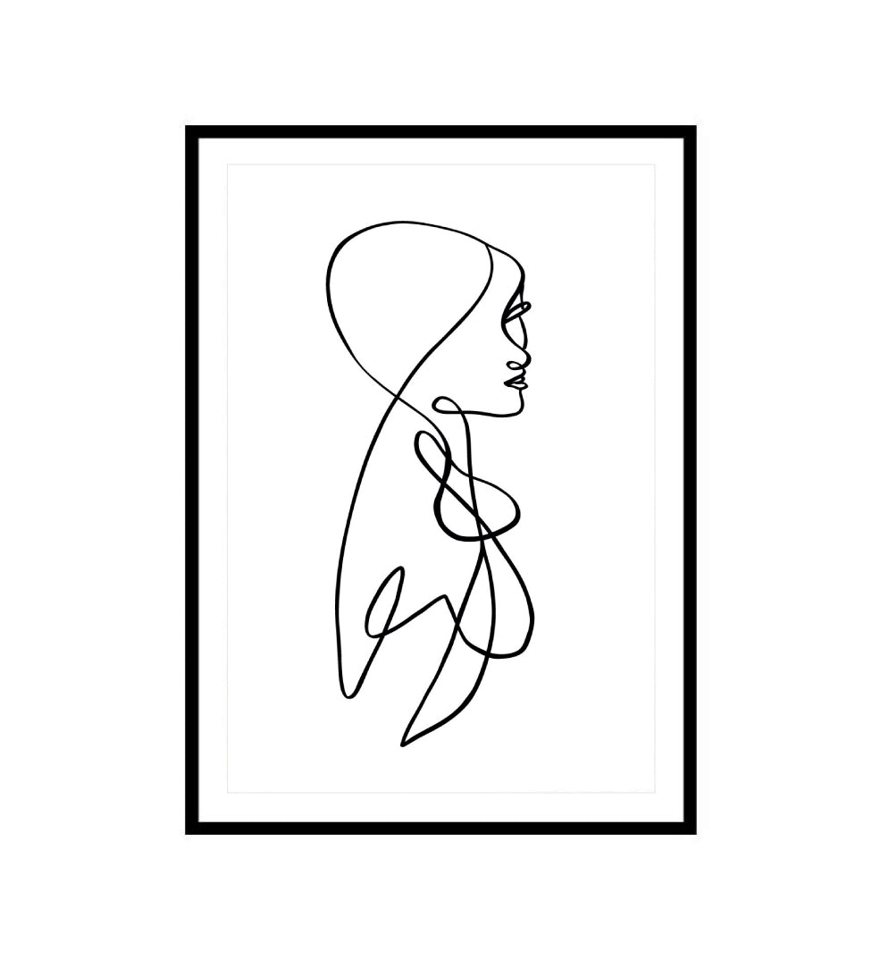 Abstract Line Drawing Figure Print