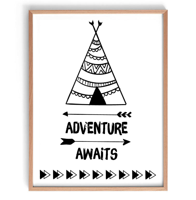 Adventure Awaits Tee Pee Print