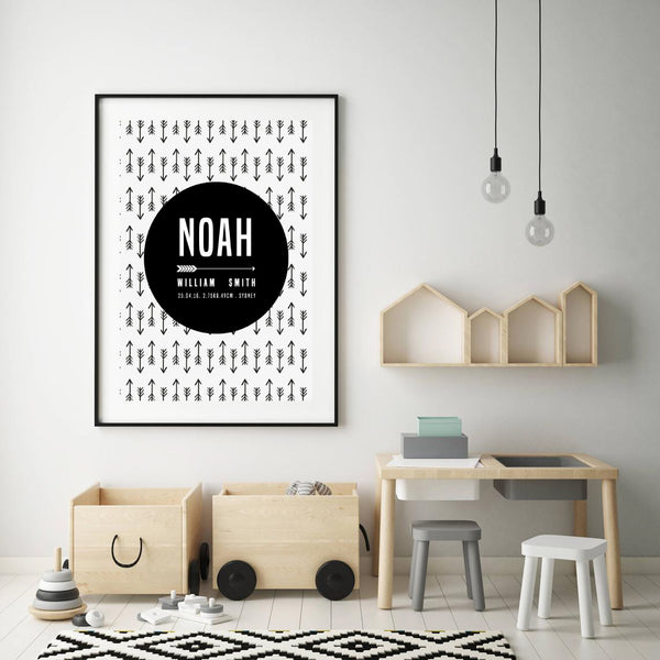 Custom Birth Print for Nursery -Arrow Design
