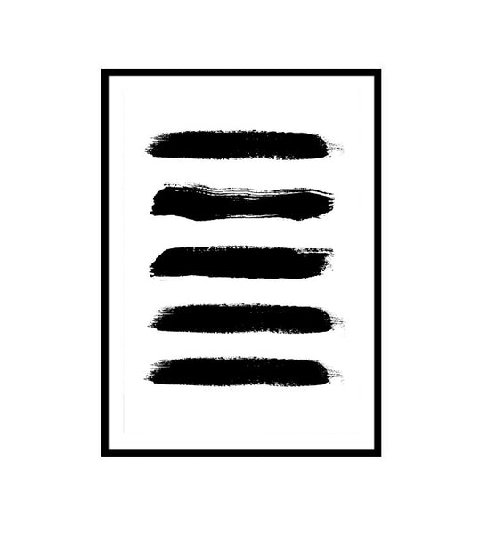 Black Paint Swash Abstract Print